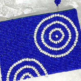 Beaded Clutch Purse - Royal Blue and White - New Earth Gifts