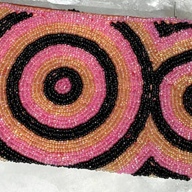 Beaded Clutch Purse - Black, Pink and Gold - New Earth Gifts
