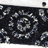 Beaded Clutch Purse - Black and White - New Earth Gifts