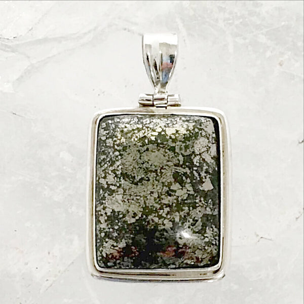Pyrite Sterling Rectangle Pendant | New Earth Gifts