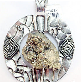 Pyrite Drusy Pendant With Unique Hammered Metal Design - New Earth Gifts