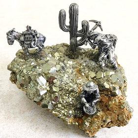 Pewter Miners on Large Pyrite Cluster | New Earth Gifts