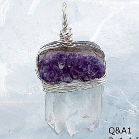 Quartz Point and Amethyst Medallion - New Earth Gifts