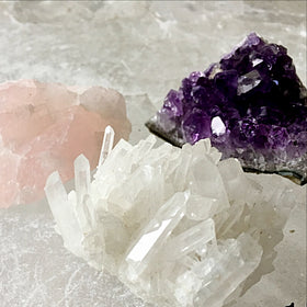 Healing Crystals Trio, Amethyst, Rose Quartz, Crystal Quartz | New Earth Gifts