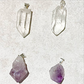 Natural Amethyst and Quartz Point Pendants - New Earth Gifts