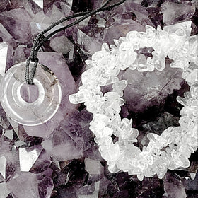 Quartz Pendant and Triple Strand Bracelet Set | New Earth Gifts