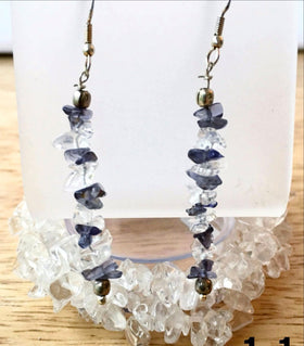 Quartz Cuff Bracelet Multi Strand Stretch With Quartz & Iolite Earring