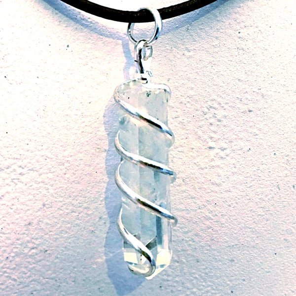 Quartz Spiral Wrapped Gemstone Pendant - New Earth Gifts