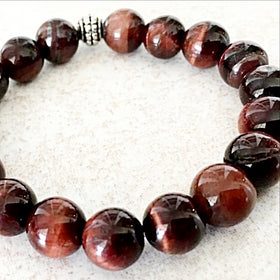 Red Tiger Eye 6mm Power Bracelet for Courage and Will Power - New Earth Gifts