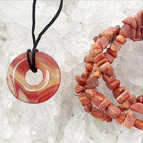 Agate Pendant and Coral Triple Strand Bracelet Set | New Earth Gifts
