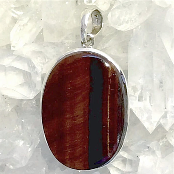 Red Tiger Eye Large Oval Silver Pendant - New Earth Gifts