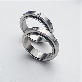 Stainless Steel Spinner Ring with Rhinestones - New Earth Gifts