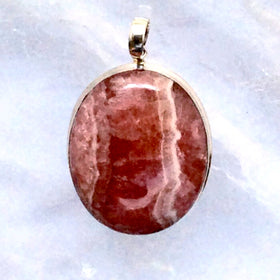 Rhodochrosite Classic Oval Sterling Pendants - New Earth Gifts