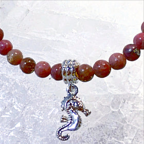 Rhodonite Bracelet with Sea Horse Charm - New Earth Gifts