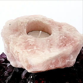 Rose Quartz Natural Tea Light Holder | New Earth Gifts