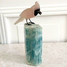 Rose Quartz Cardinal on Fluorite Stand | New Earth Gifts