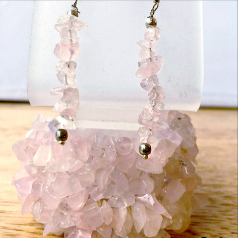 Rose Quartz 5-strand Cuff Stretch Bracelets with Earrings - New Earth Gifts