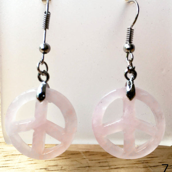Peace Sign Rose Quartz Dangle Earrings  - New Earth Gifts