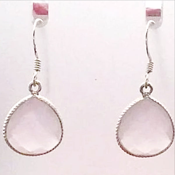 Dainty Rose Quartz Oval Style Sterling Earrings | New Earth Gifts