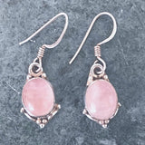 Rose Quartz Oval Style Sterling Earrings | New Earth Gift