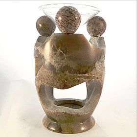 Soapstone Oil Burner - Dancing Circle - New Earth Gifts
