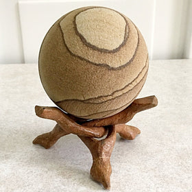 Sandstone Sphere on Wood Tripod Stand | New Earth Gifts