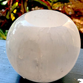 Selenite Candle Holder for Peace and Tranquility - New Earth Gifts and Beads