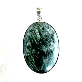 Seraphinite Large Oval Pendant Sterling Silver  - New Earth Gifts