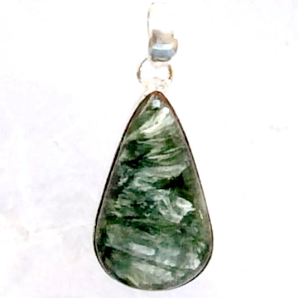 Seraphinite Teardrop Pendant Sterling Silver - New Earth Gifts