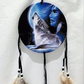 Medicine Shield - Maiden with Howling Wolf and Full Moon - New Earth Gifts