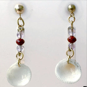 Florida Seashell Earrings Transverse Ark Shell 14kt Gold Findings - New Earth Gifts