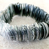 Pearlized Slivers of Shell Grey Bracelet -New Earth Gifts