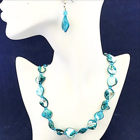 Teal Blue Blister Pearl Necklace  - New earth Gifts