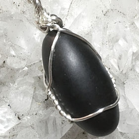 Black Shiva Lingam Pendants - Silver Wire Wrapped - New Earth Gifts
