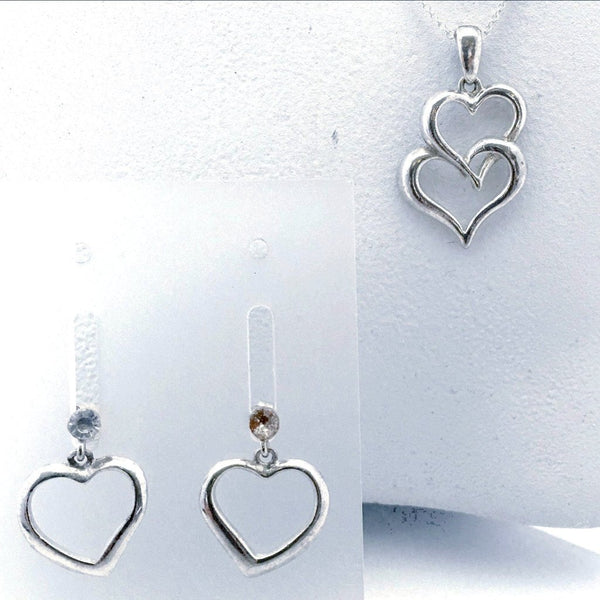 Heart Pendant and Earrings Set - Sterling Silver - New Earth Gifts