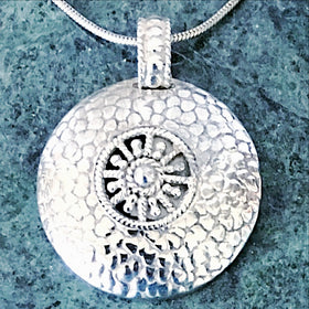 Sterling Silver Sun Symbol Pendant - New Earth Gifts