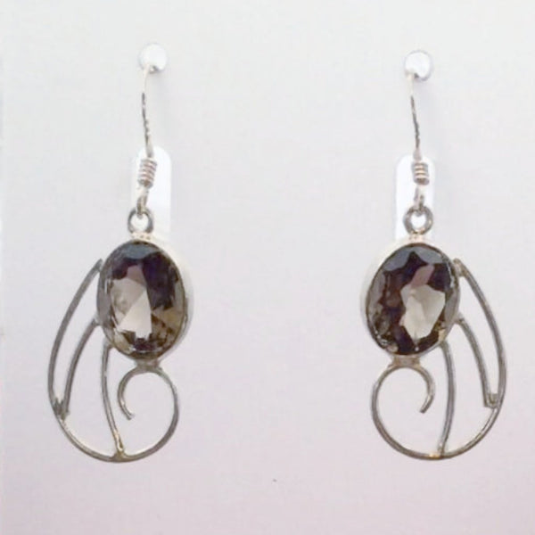 Smoky Quartz Faceted Earrings Unique Original Style - New Earth Gifts