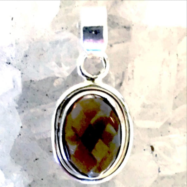 Smoky Quartz Faceted Oval Sterling Pendant
