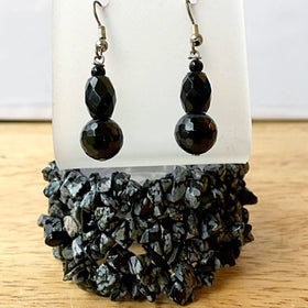 Snowflake Obsidian Cuff Bracelet With Black Obsidian Earrings - New Earth Gifts