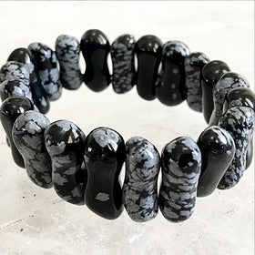 Snowflake Obsidian Double Drilled Beaded Bracelet | New Earth Gifts