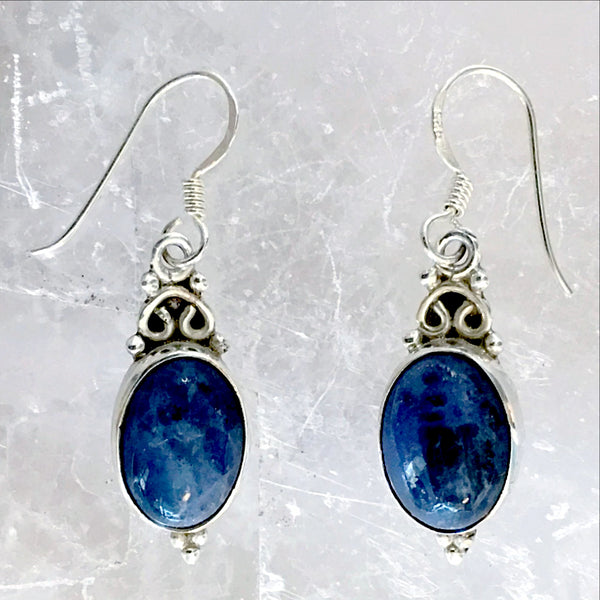 Sodalite Deep Blue Sterling Silver Drop Earrings | New Earth Gift
