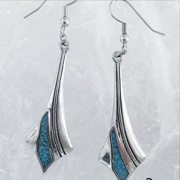 Turquoise Stainless Dangling Earrings Southwest Style | New Earth
