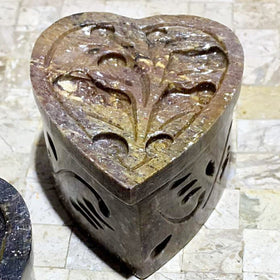 Soapstone Heart Trinket Boxes - 3 Pc Set | New Earth Gifts