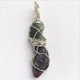 Moldavite and Super 7 Free Form Pendant | New Earth Gifts