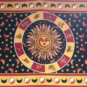 Zodiac Tapestry with Sun and Moon Design - New Earth Gifts