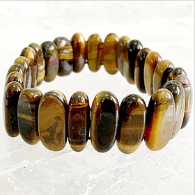 Tiger Eye Flat Point Stretch Bracelet | New Earth Gifts
