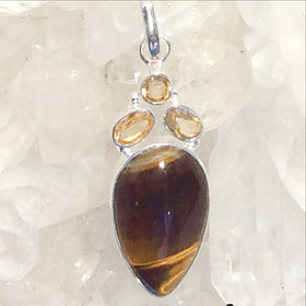 Tiger Eye Sterling Pendant with Citrine Accents | New Earth Gift