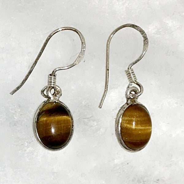 Tiger Eye Faceted Oval Sterling Earrings | New Earth Gift