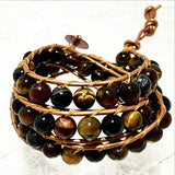 Beaded 3 Wrap Bracelet Mixed Tiger Eye - New Earth Gifts