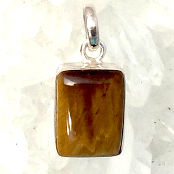 Tiger Eye Sterling Silver Square Pendant - New Earth Gifts